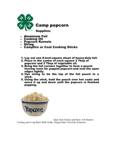 Camp popcorn  Supplies: Aluminum Foil