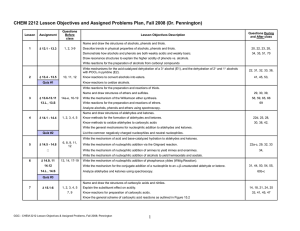 CHEM 2212 Lesson Objectives and Assigned Problems Plan, Fall 2008...