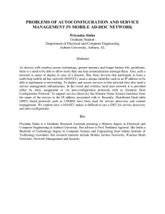 PROBLEMS OF AUTOCONFIGURATION AND SERVICE MANAGEMENT IN MOBILE AD-HOC NETWORK Priyanka Sinha Abstract