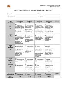   Written Communication Assessment Rubric Department of Chemical Engineering