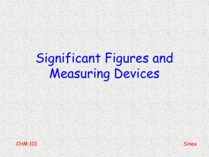 Significant Figures and Measuring Devices CHM 101 Sinex