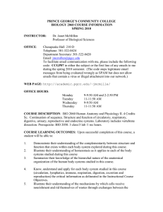 PRINCE GEORGE'S COMMUNITY COLLEGE BIOLOGY 2060 COURSE INFORMATION SPRING 2010