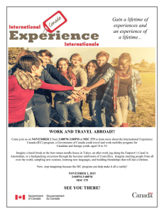Gain a lifetime of experiences and an experience of a lifetime...