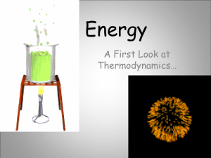 Energy A First Look at Thermodynamics…