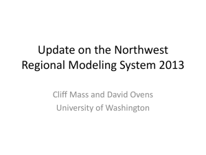 Update on the Northwest Regional Modeling System 2013 University of Washington