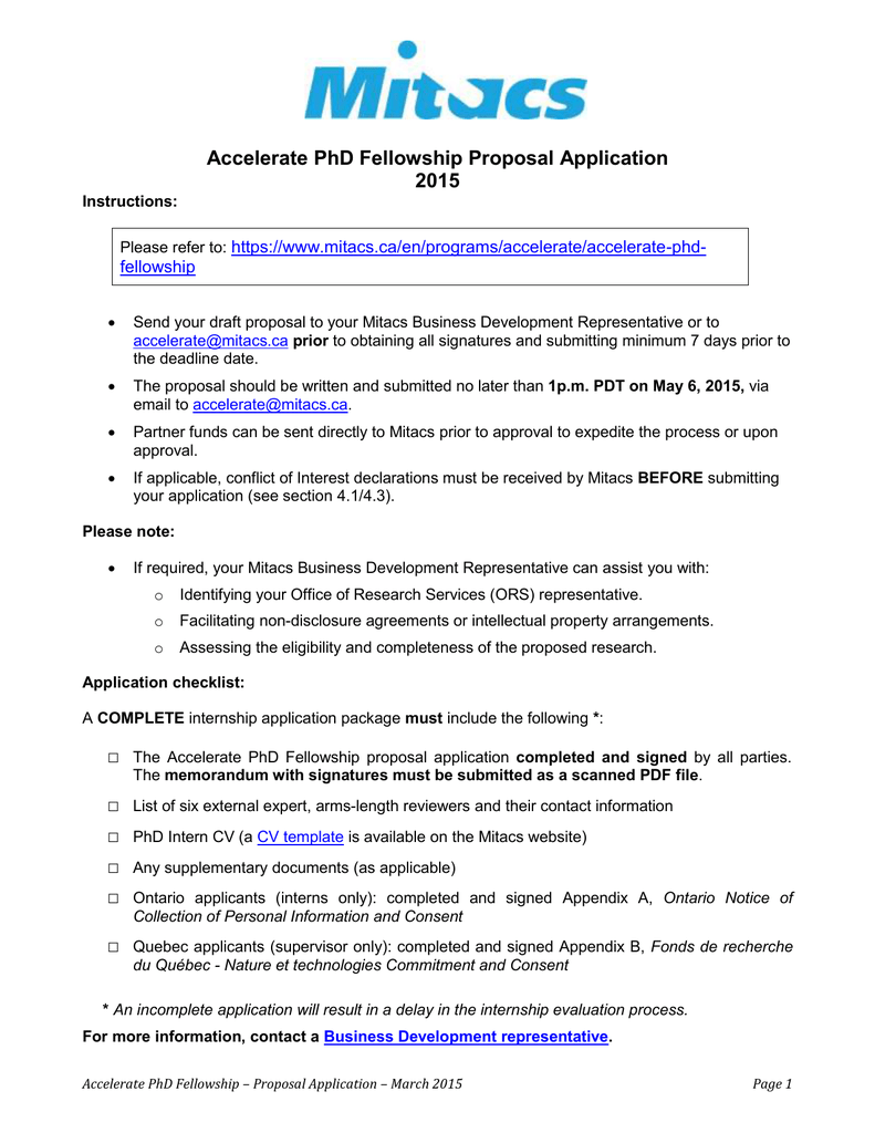 Accelerate PhD Fellowship Proposal Application 2015