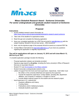 – Sorbonne Universités Mitacs Globalink Research Award Proposal