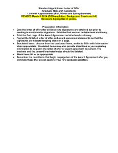 Standard Appointment Letter of Offer Graduate Research Assistants