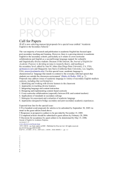 UNCORRECTED PROOF Call for Papers