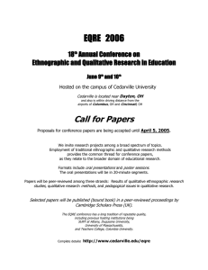 EQRE   2006 Call for Papers 18 Annual Conference on