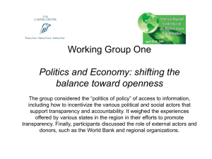 Working Group One Politics and Economy: shifting the balance toward openness