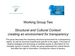 Working Group Two Structural and Cultural Context: creating an environment for transparency