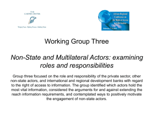 Working Group Three Non-State and Multilateral Actors: examining roles and responsibilities