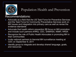 Population Health and Prevention Recommendations: