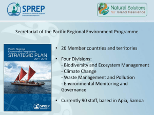 Secretariat of the Pacific Regional Environment Programme • Four Divisions: