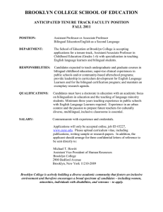 BROOKLYN COLLEGE SCHOOL OF EDUCATION  ANTICIPATED TENURE TRACK FACULTY POSITION FALL 2011