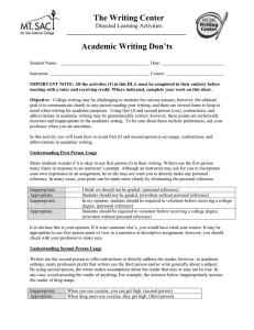 The Writing Center Academic Writing Don'ts  Directed Learning Activities