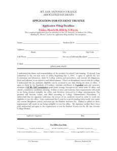 MT. SAN ANTONIO COLLEGE ASSOCIATED STUDENTS  APPLICATION FOR STUDENT TRUSTEE
