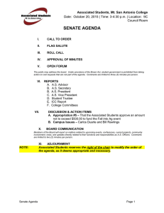 SENATE AGENDA Associated Students, Mt. San Antonio College