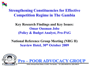 Strengthening Constituencies for Effective Competition Regime in The Gambia