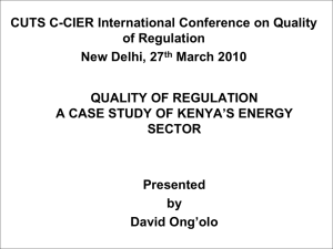 CUTS C-CIER International Conference on Quality of Regulation New Delhi, 27 March 2010