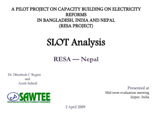 A PILOT PROJECT ON CAPACITY BUILDING ON ELECTRICITY REFORMS (RESA PROJECT)