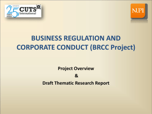 BUSINESS REGULATION AND CORPORATE CONDUCT (BRCC Project) Project Overview &