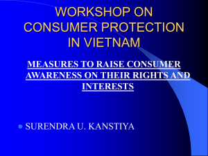 WORKSHOP ON CONSUMER PROTECTION IN VIETNAM MEASURES TO RAISE CONSUMER
