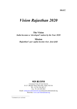 Vision Rajasthan 2020 The Vision Mission