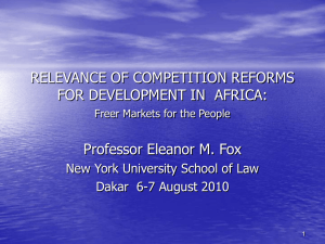RELEVANCE OF COMPETITION REFORMS FOR DEVELOPMENT IN  AFRICA: