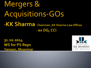 Mergers & Acquisitions-GOs