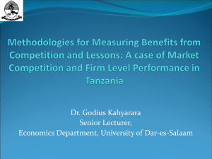 Dr. Godius Kahyarara Senior Lecturer, Economics Department, University of Dar-es-Salaam