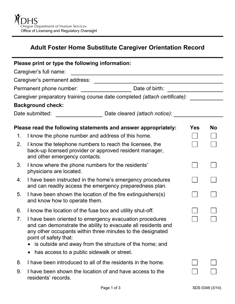 Adult Foster Home Substitute Caregiver Orientation Record