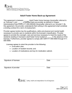 Adult Foster Home Back-up Agreement