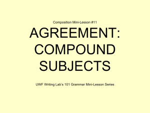 AGREEMENT: COMPOUND SUBJECTS Composition Mini-Lesson #11
