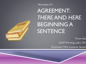 AGREEMENT: BEGINNING A SENTENCE THERE