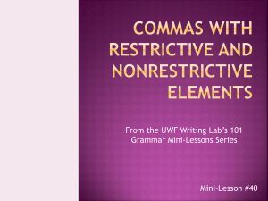 From the UWF Writing Lab's 101 Grammar Mini-Lessons Series Mini-Lesson #40