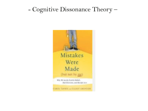 - Cognitive Dissonance Theory –