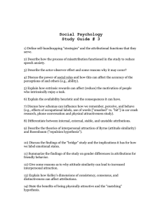 Social Psychology Study Guide # 3
