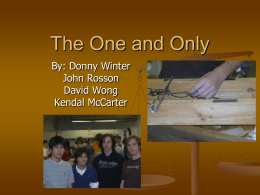 The One and Only By: Donny Winter John Rosson David Wong