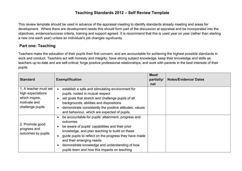 U2013 Self Review Template Teaching Standards 2012