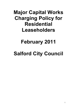 Major Capital Works Charging Policy for Residential Leaseholders