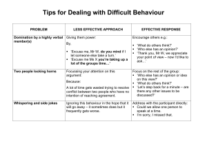 Tips for Dealing with Difficult Behaviour