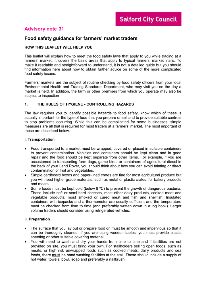 For Farmers Market Traders Food Safety Guidance Advisory Note