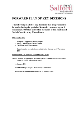 FORWARD PLAN OF KEY DECISIONS