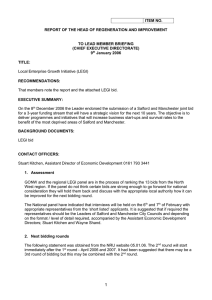 ITEM NO.  REPORT OF THE HEAD OF REGENERATION AND IMPROVEMENT
