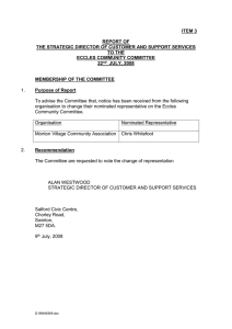 ITEM 3  REPORT OF THE STRATEGIC DIRECTOR OF CUSTOMER AND SUPPORT SERVICES