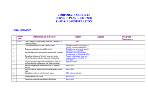 CORPORATE SERVICES SERVICE PLAN  -  2001/2002 LAW & ADMINISTRATION