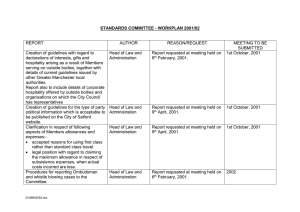STANDARDS COMMITTEE - WORKPLAN 2001/02  REPORT AUTHOR