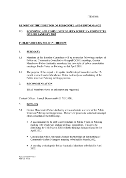 ITEM NO: TO: REPORT OF THE DIRECTOR OF PERSONNEL AND PERFORMANCE